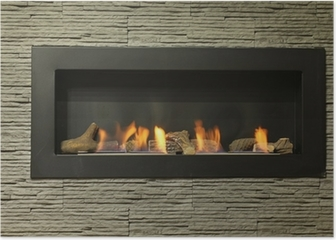 interior fireplace Poster