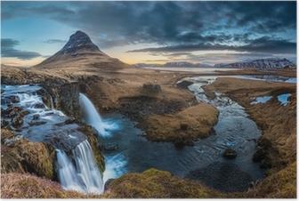Poster Islande paysage - Lever de soleil à Mt. Kirkjufell