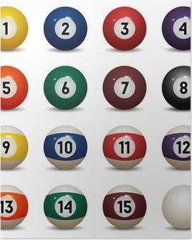 Isolated colored pool balls. Numbers 1 to 15 and zero ball Poster