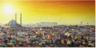 Poster Istanbul Moskee met kleurrijke woonwijk in zonsondergang