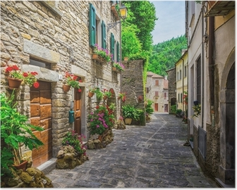 Italian street in a small provincial town of Tuscan Poster