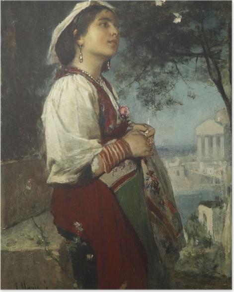 Poster Jacob Maris - Une jeune beauté italienne aux papillons - Reproductions