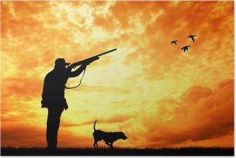 Poster Jägare vid solnedgången