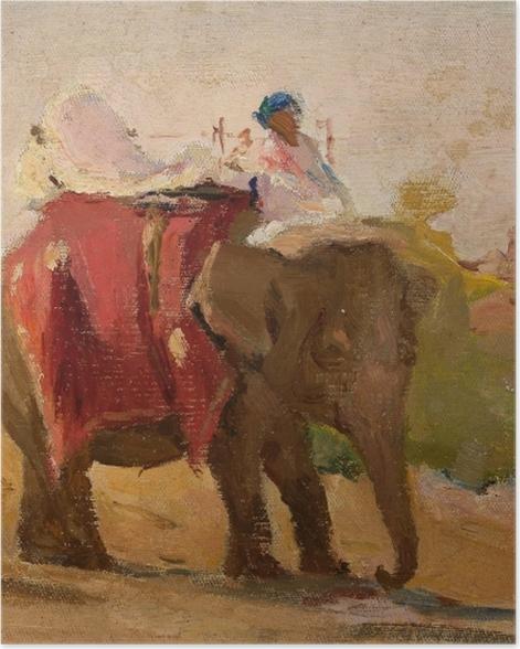 Poster Jan Ciągliński - Chittorgarh - Mon éléphant. Du voyage en Inde. - Reproductions