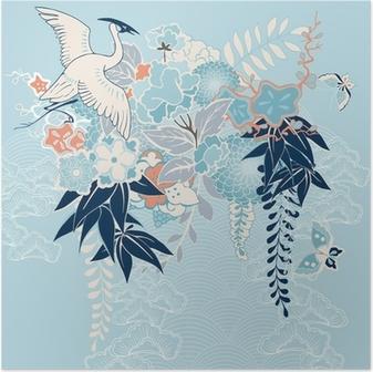 Japanese kimono motif with crane and flowers Poster