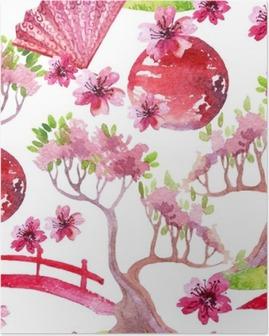 Japanese seamless pattern Poster