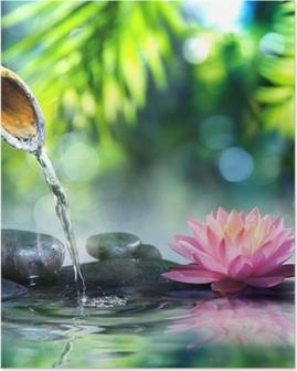 Poster Jardin zen avec des pierres noires et nénuphar rose