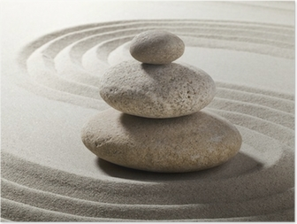 jardin zen avec sable et galets Poster