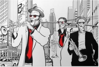 Poster Jazz band in een straat van nieuw-York
