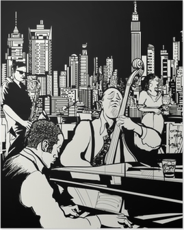 Jazz band playing in New York Poster