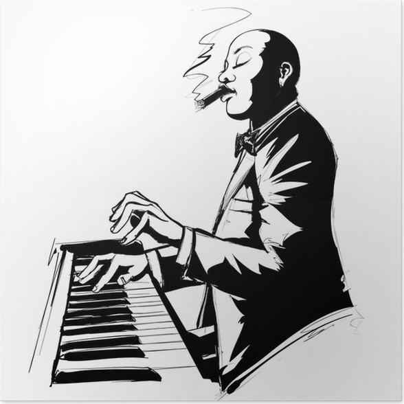 Jazz pianist in black and white poster