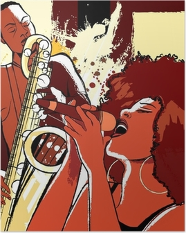 jazz singer and saxophonist on grunge background Poster