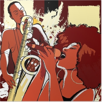 jazz singer and saxophonist on grunge background Poster