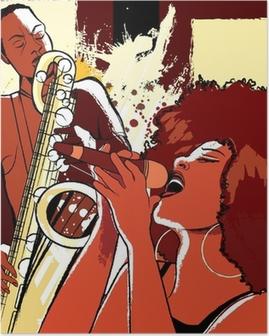 Poster Jazz-zangeres en saxofonist op grunge achtergrond