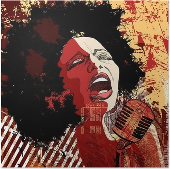 Poster Jazz-zangeres op grunge achtergrond