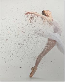Poster Jeune danseuse de ballerine dans le tutu effectuer sur pointes