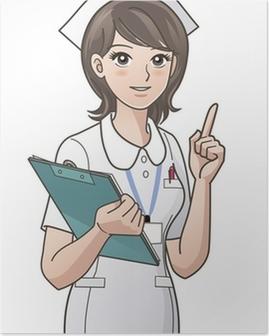 Poster Jeune infirmière pointant l'index vers le haut