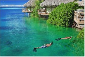 Poster Jong paar snorkelen in gezond water rif