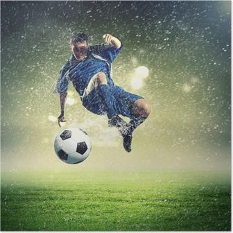 Poster Joueur de football frapper la balle