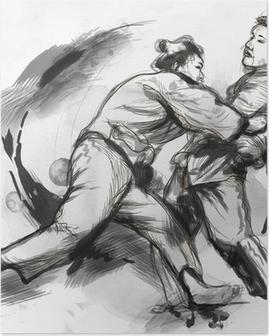 Poster Judo - en fullstor handritad illustration