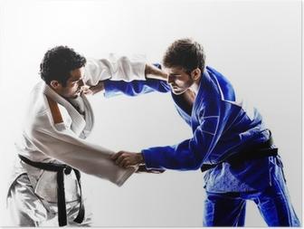 Poster Judoutövare soldater kämpar män silhuett