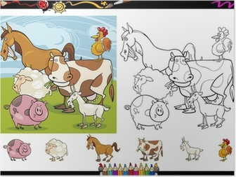 Póster Granja y Ganadería Animales para Colorear • Pixers