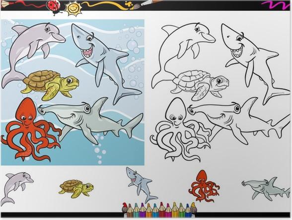 Póster Juego de páginas para colorear de dibujos animados de vida ...