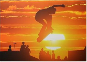 Jumping extreme high skateboard skater boy Poster