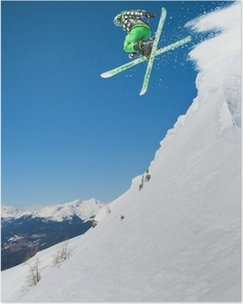 Jumping skier in mountains Poster