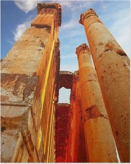Jupiter's temple over blue sky, Baalbek, Lebanon Poster