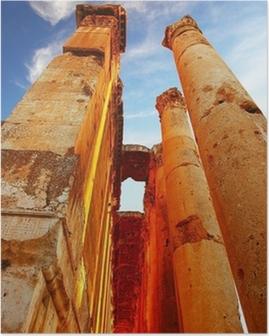 Poster Jupiter temple sur fond bleu ciel, Baalbek, Liban