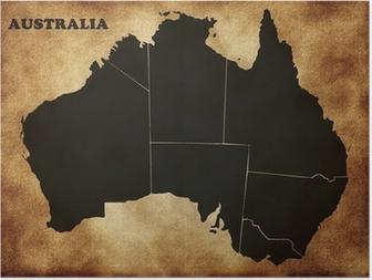 Poster Kaart van Australië op de oude structuur