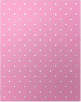 Poster Kakel vektor mönster med vita prickar på rosa bakgrund