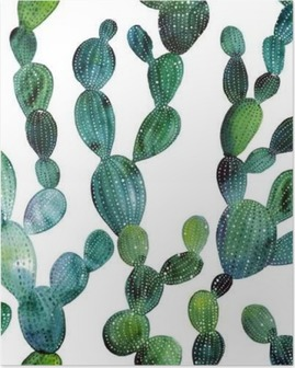Poster Kaktus mönster i akvarell stil