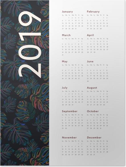 Poster Kalendarz 2019 - fleurs -