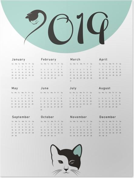 Poster Kalender 2019 - cat -