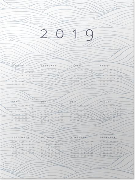 Poster Kalender 2019 - golven -