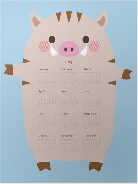 Poster Kalender 2019 - grappig zwijnen -