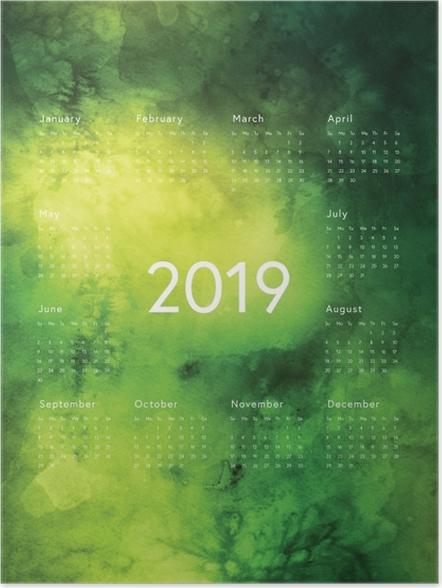 Poster Kalender 2019 - groene regels -