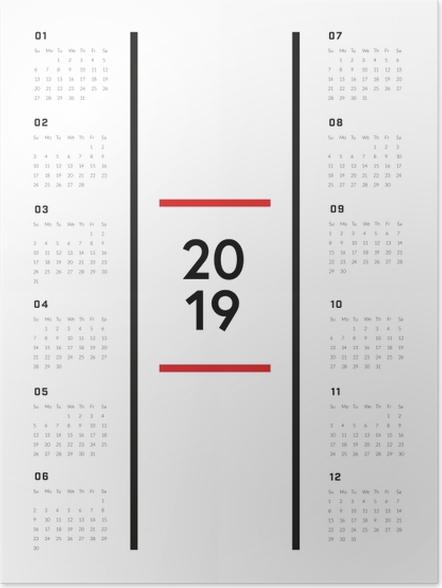 Poster Kalender 2019 - Minimalistische -