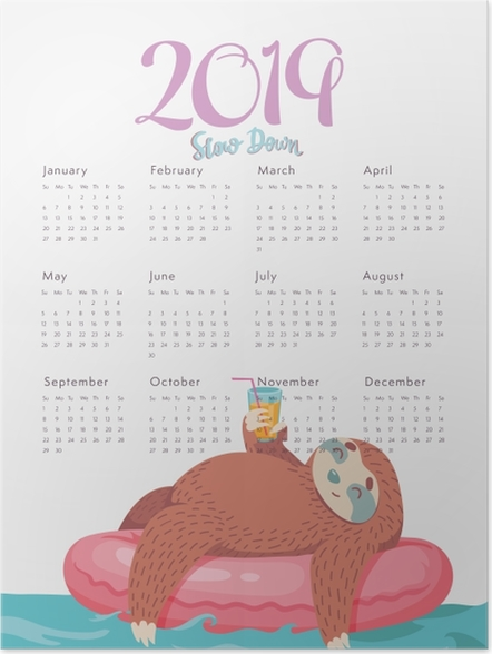 Poster Kalender 2019 - Slown omlaag -