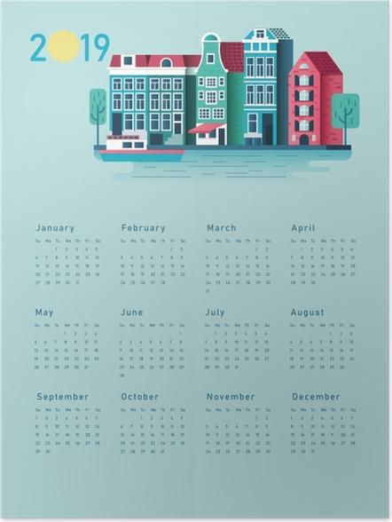 Poster Kalender 2019 - zonnig huis -
