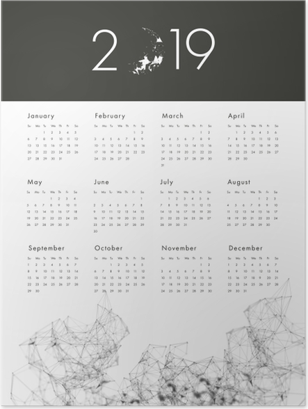 Poster Kalender 2019 - zwart en wit -