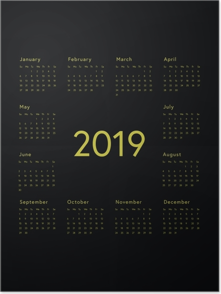 Poster Kalender 2019 - zwart -