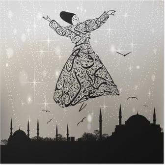 Poster Kalligrafie derwisj en istanbul moskeeën