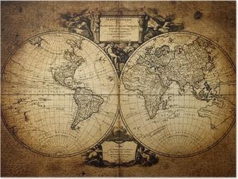 Poster Karta över världen 1752