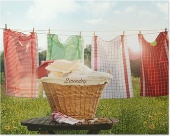 Poster Katoenen handdoeken drogen aan de waslijn