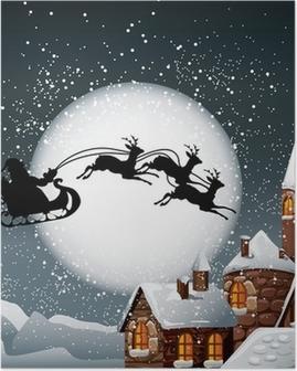 Poster Kerst illustratie van de Kerstman en zijn rendieren