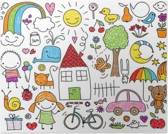 Poster Kinderen doodle