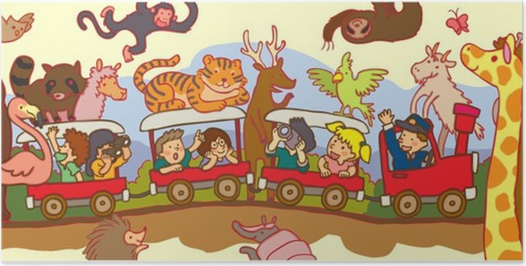 Poster Kinderen Reizen Door De Woestijn Safari Met De Trein